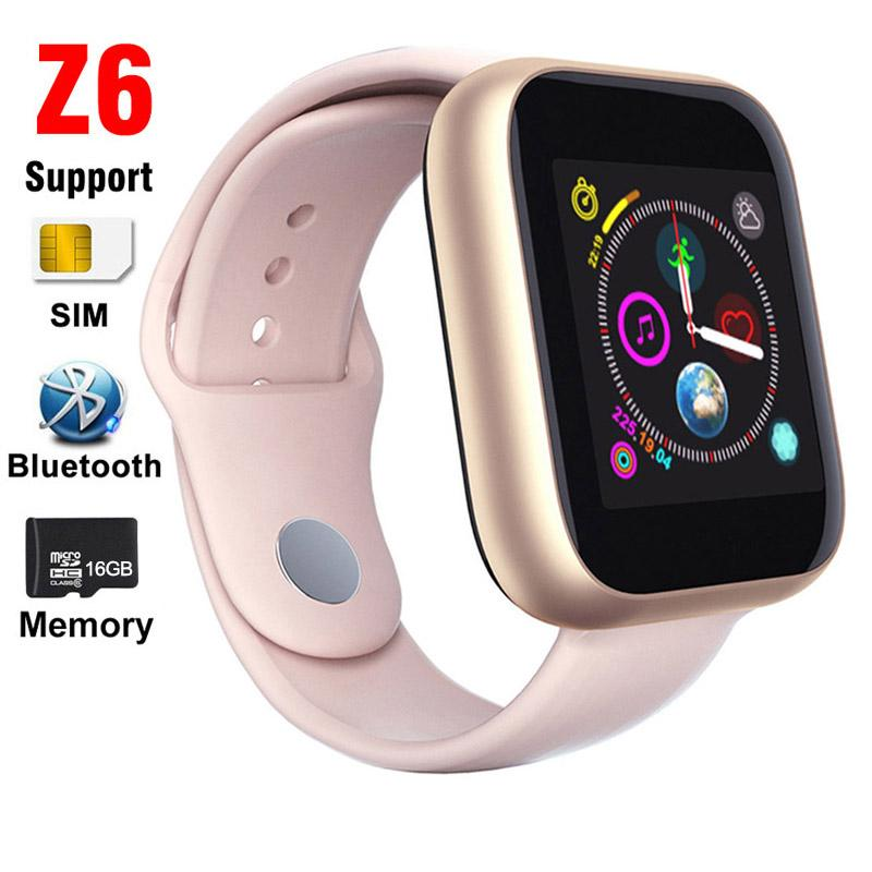 Z6 Smart Watch SIM Card Phone Call Support TF 16GB Memory Bluetooth Clock Sleep Monitor Contacts Music Player Camera Watches For Women Men