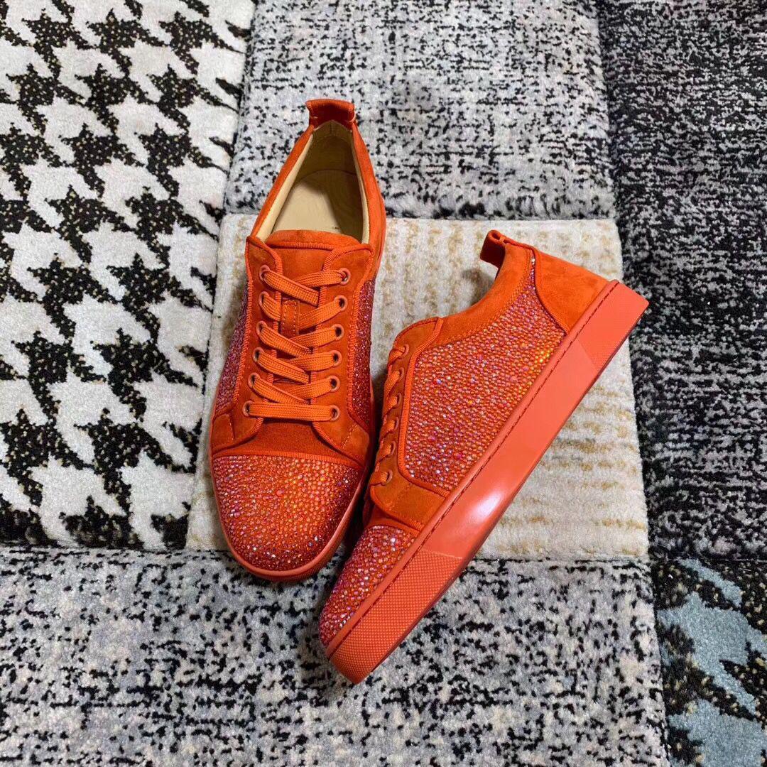 Moda Marka Düşük En Genç Sneakers Kırmızı Alt Erkek ayakkabı Turuncu Süet Deri Strass Casual Yürüyüş Lüks Tasarımcılar Açık Eğitmenler