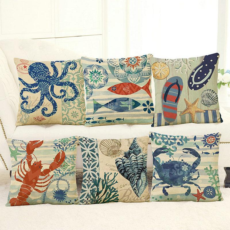 Marine style linen pillow cases Hna octopus tortoise sailor household sofa cushion for leaning on pillow without the core