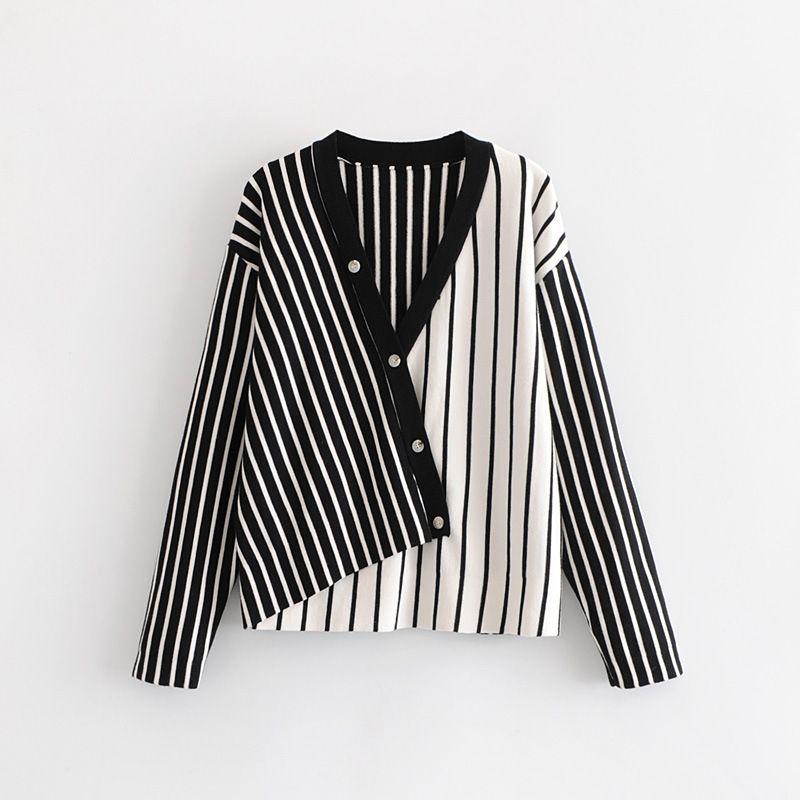 2020 cheap fashion Stylish new diagonal button stripe stitching sweater women V-Neck Cardigans Striped sweaters Single Breasted