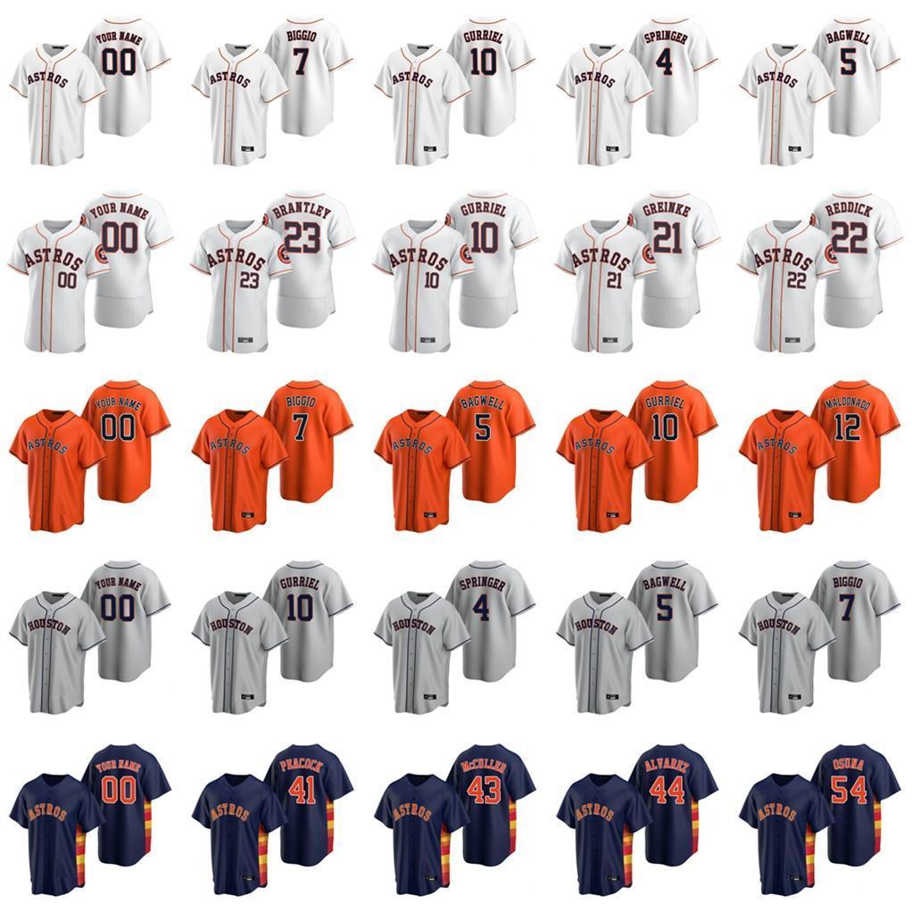 2020 Astros Baseball Jerseys Nolan Ryan Jersey 4 George Springer 35 Justin Verlander Jose Altuve Alex Bregman Joe Smith 사용자 정의 스티치