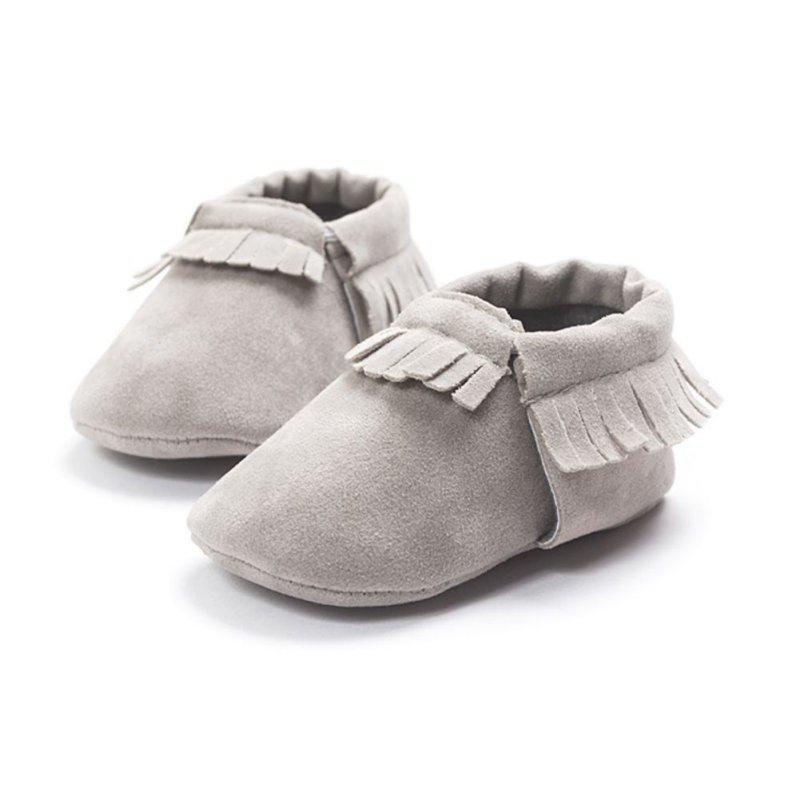 Zapatos de ante de la PU zapatos de cuero recién nacido del muchacho del bebé mocasines blandos Moccs cuna Los niños de la franja de suela blanda antideslizante primeros caminante