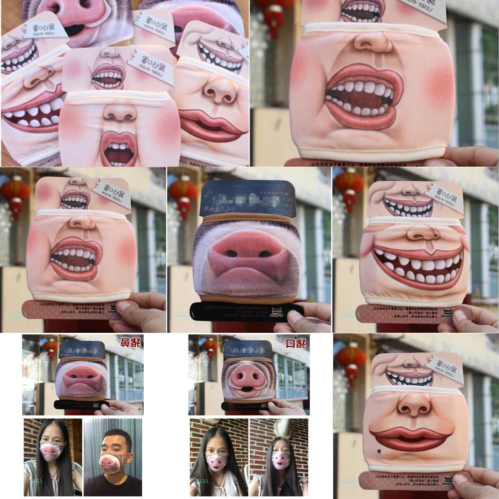 Masque bouche drôle mignon anti poussière drôle Big Pig Cotton Mouth Masque Cartoon Visage Emotiction Ma FX0R