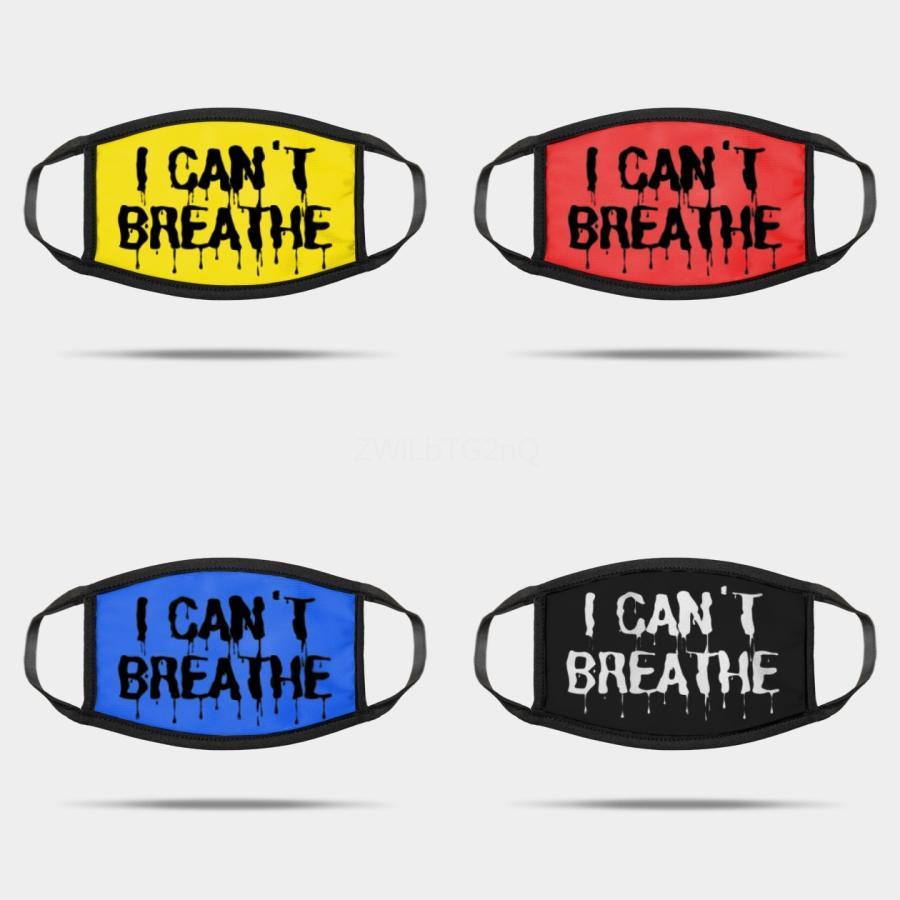 No puedo respirar Letter Print Máscaras Dener la mascarilla del Negro Vidas Materia Dener máscara máscaras tela de cara filtro anti carbono Estilo Tela # 202