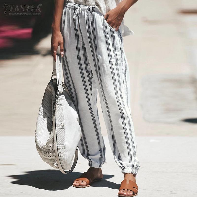 Artı Boyut Kadın İlkbahar Pantolon ZANZEA 2020 Moda Çizgili Pantolon Günlük Elastik Bel Uzun Pantalon Palazzo pinted Şalgam 5XL