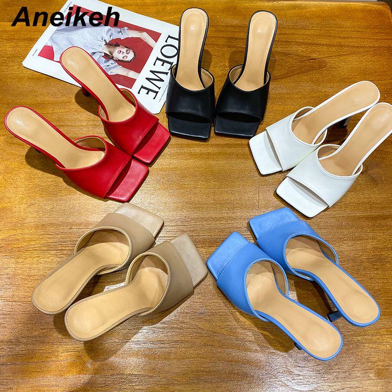 Aneikeh NUEVO 2020 del dedo del pie cuadrado de fino tacón alto deslizamiento de las mujeres sandalias de moda en los zapatos de playa del verano del partido al aire libre Zapatillas vestido de las señoras Y200620
