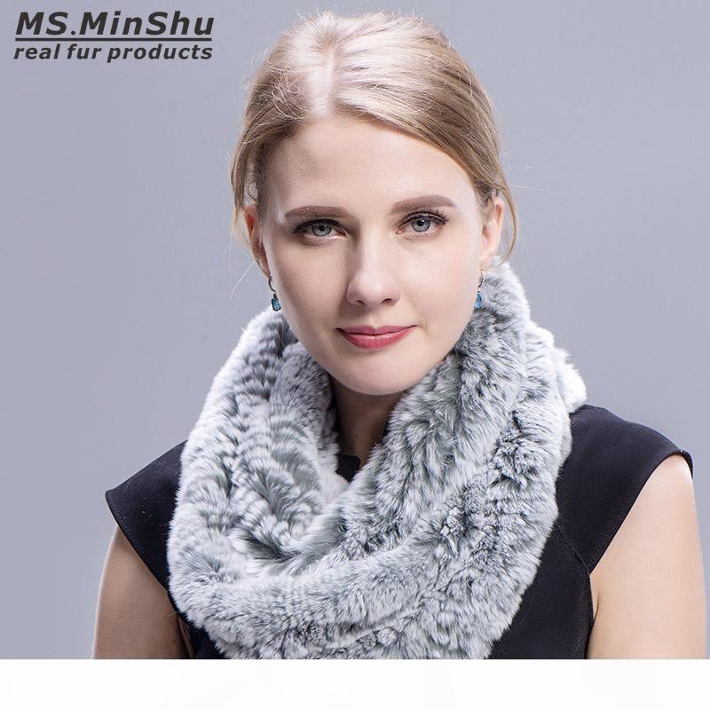 Genuina del coniglio di Rex tipo sciarpa della pelliccia Loop a mano Knit Infinite Sciarpe donne reali della pelliccia del coniglio Scialle Ms.MinShu