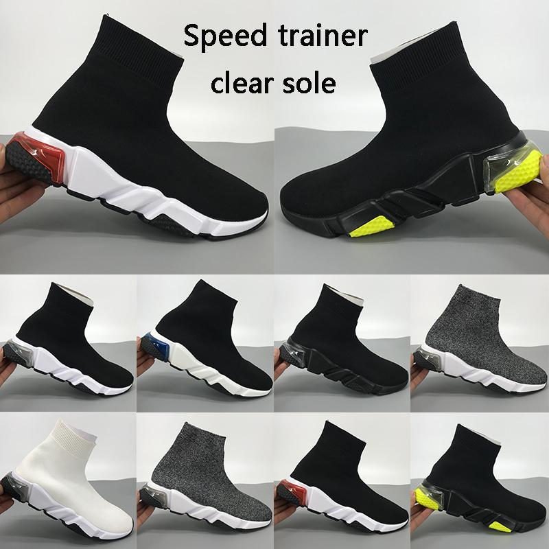 Nouveau chaussures formateur unique chaussette claire vitesse bordeaux Oreo triple stretch jaune fluo blanc noir hommes tricot femmes chaussures de sport occasionnels US 5.5-11
