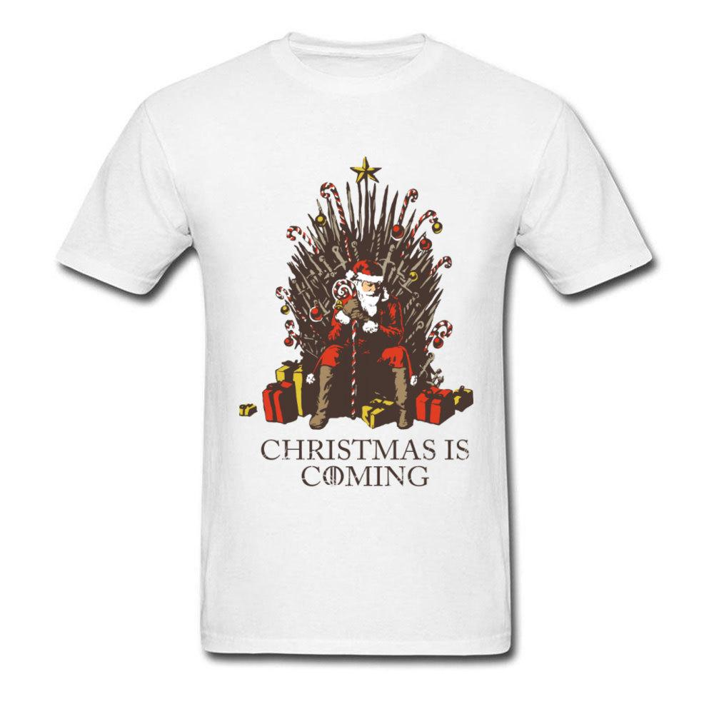 T-shirt drôle d'hommes T-shirt Noël approche du jeu de Santa Thrones T-shirts Game of Thrones Tops T-shirt Joyeux Noël