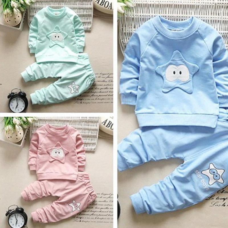Two-piece Baby Suit Casual Sports Sweatshirt Pants Girl Boy Unisex Clothes Set Sweater + Pants amqC#