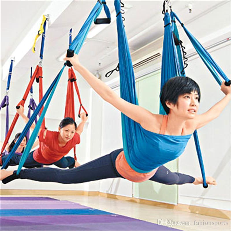 Yoga Amaca swing Stripes paracadute tessuto Inversione terapia anti-gravità ad alta resistenza di decompressione Amaca ginnastica di yoga Hanging Yoga