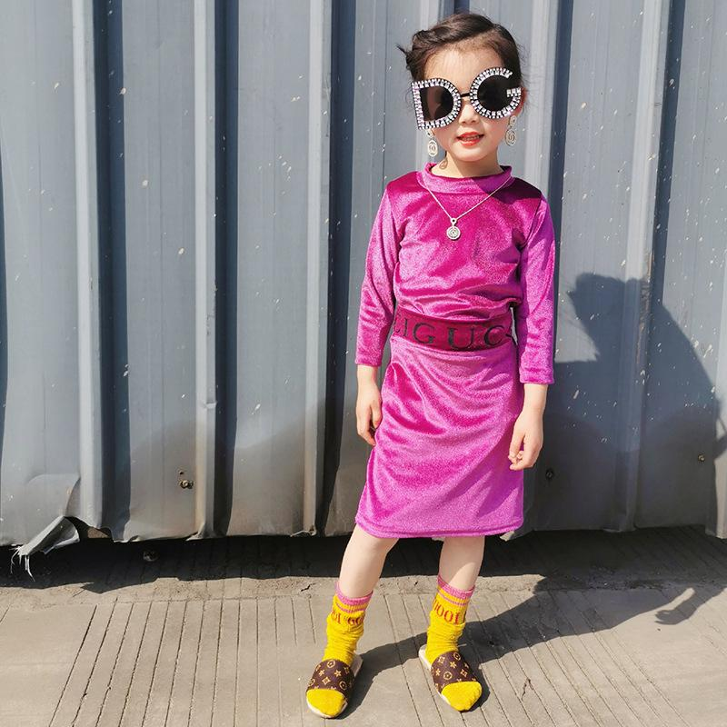 Mädchen Samt Outfits 2020 Herbst Kinder Rollkragengitter Dreiviertelhülse T-Shirt + Brief Gürtel Röcke 2 stücke Designer Marke Kinder Kleidung A3506