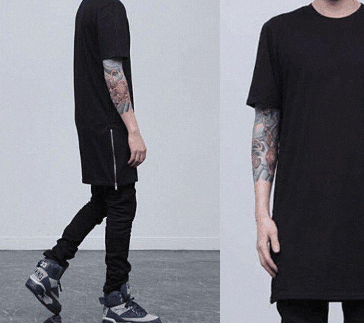 Long Street Tshirt Uomo Abbigliamento Estate Classica Cerniere Up Nero Bianco Tees Nero Bianco Top xLkW #