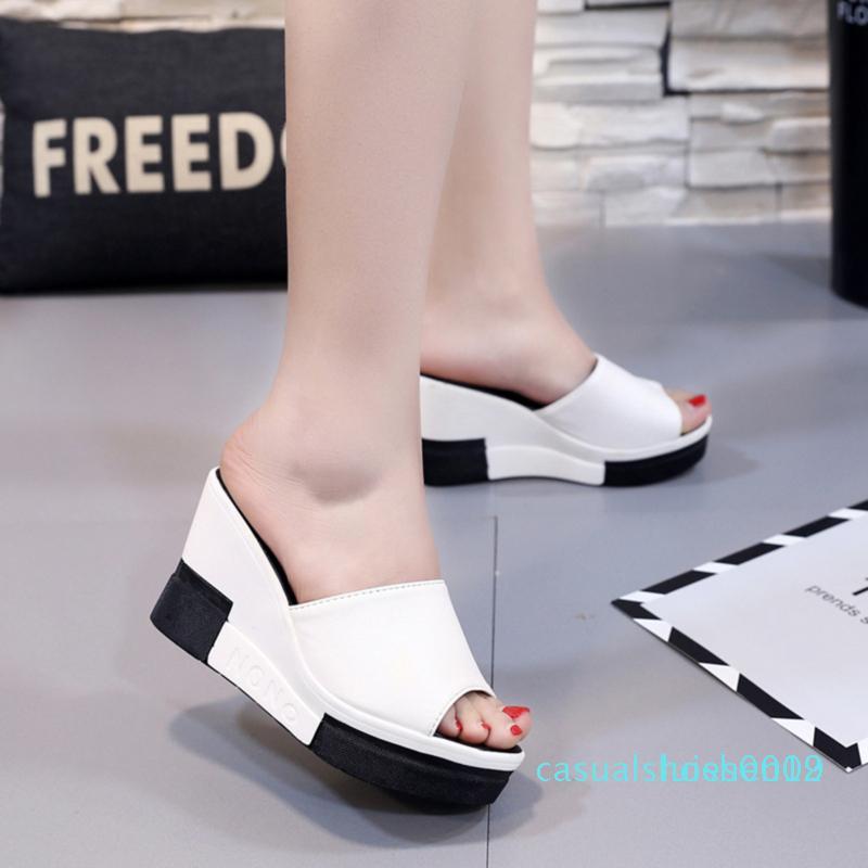 New Verão Mulheres Sandals Peep-Toe Calçados Mulher saltos altos Plataformas Cunhas Casual Para Mulheres Sandalias Con Plataforma c09 l12