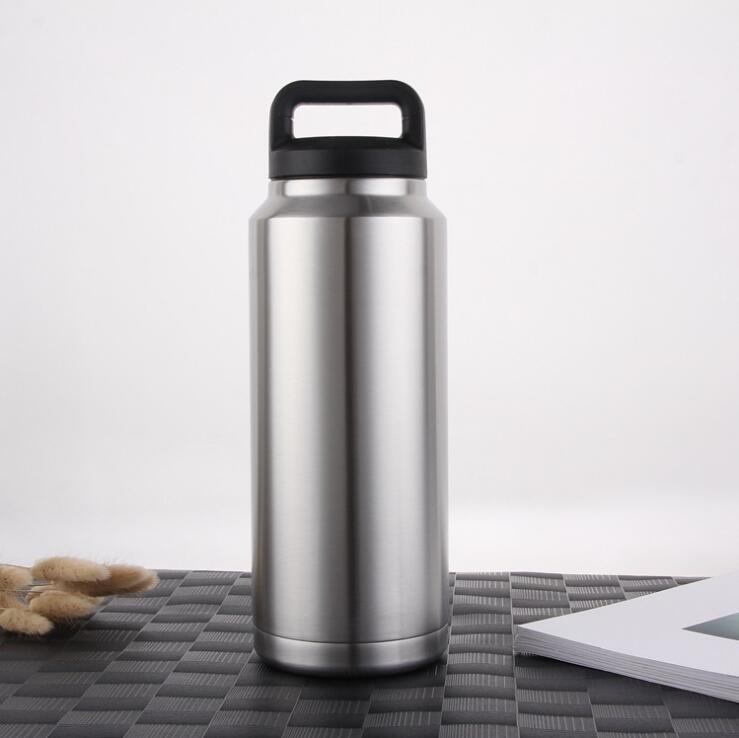 36 унций большая емкость Широкая рот бутылка воды с ручкой крышка 304 из нержавеющей стали чайник открытый двойной стены вакуумная изоляция колбу