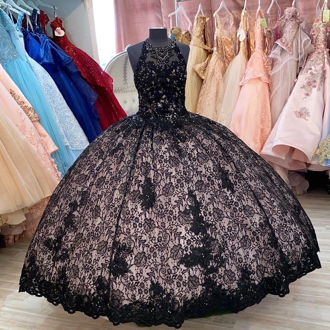 Sexy Black Lace Sheer шея Quinceanera Пром платье бального Кристал бисер корсет Назад вечер вечерние платья Сладких 16 Vestidos De платья