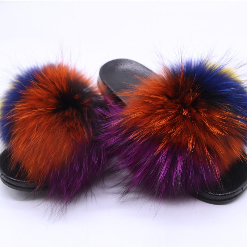 pantofole vera estate solido pantofole di colore della pelliccia coperta e scoperta casuale antiscivolo