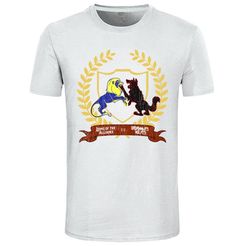 Baba Tişört Erkekler Top tişört Lions VS Kurtlar Komik Gömlek Pamuk O Yaka Kısa Kollu heveslenen Tasarım T Gömlek Yaz Yeni Tops