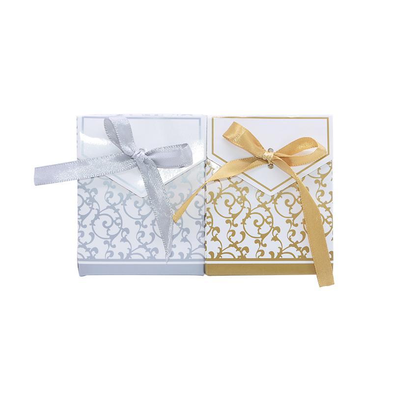 5 / 10pcs Motif Or Argent Vintage Sacs Dentelle Boîte De Bonbons Mariage Emballage cadeau avec ruban pour le mariage Birthday Party Decoration