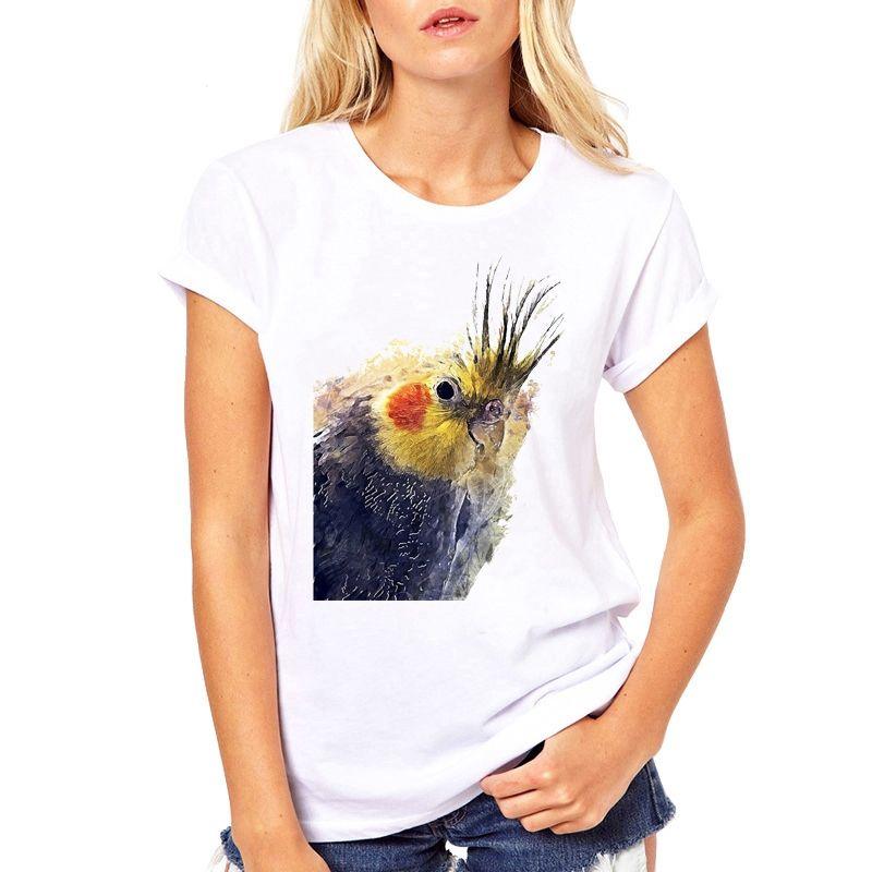 2020 Maglie a manica corta Camicie sveglie Parrot O-Collo T Base estate donne maglietta Tutto-Fiammifero camicia di T bianca Stampa