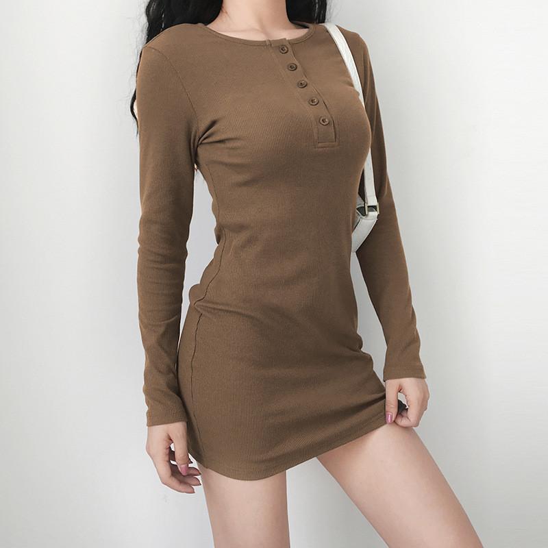 Botão Verão Mulheres Vestidos de Slim manga comprida O pescoço cintura alta Senhoras vestido Casual Mulher magro cor sólida Vestido Bodycon com