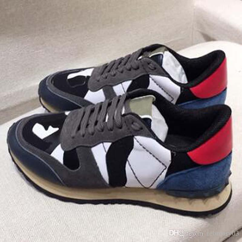 Ayakkabı Süet Dantel Rockrunner Kamuflaj Sneakers deri Erkek Erkek Kadın Flats eğitmenler cc1 Casual Ayakkabı daireden mens