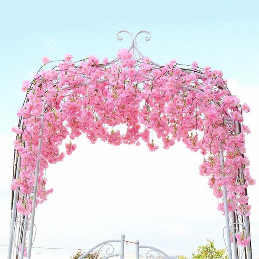 2.3M Artificial Kirschblüten-Blumen Hochzeit Girlande Ivy Dekoration Gefälschte Silk Blumen-Rebe für Party Arch Home Decor String TVBS #