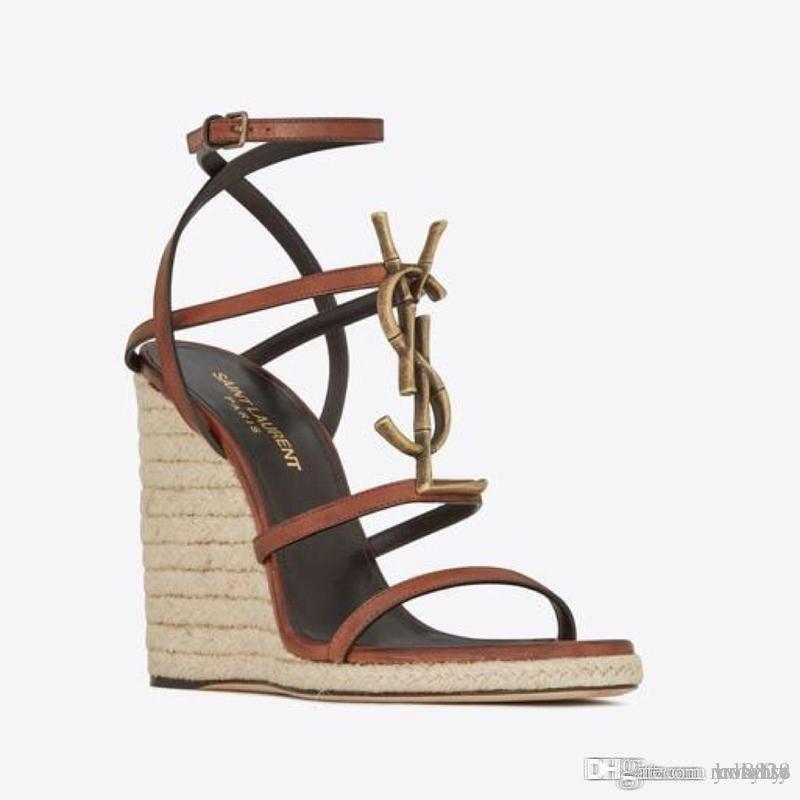 Sandalias de las nuevas mujeres de la manera confortables en la cinta de talón 2019 Pendiente tamaño de combinación sandalias de tacón alto de las mujeres 35-41