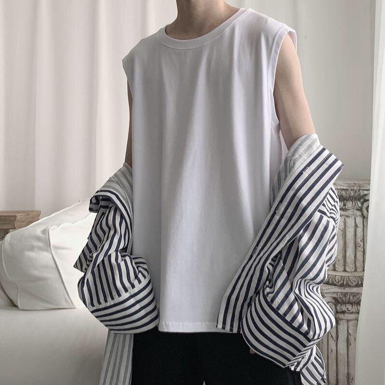 Avrupa ve Amerikan yelek erkek yaz moda hip hop spor katı renk kolsuz t-shirt erkek gevşek üst tank TX37020