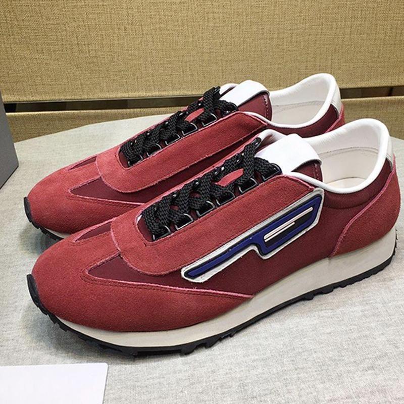 De lujo de gamuza y nylon zapatillas de deporte de los hombres '; S Zapatos entrega rápida caminando al aire libre respirable Chunky las zapatillas de deporte de los hombres cómodos ocasionales con cordones -Up
