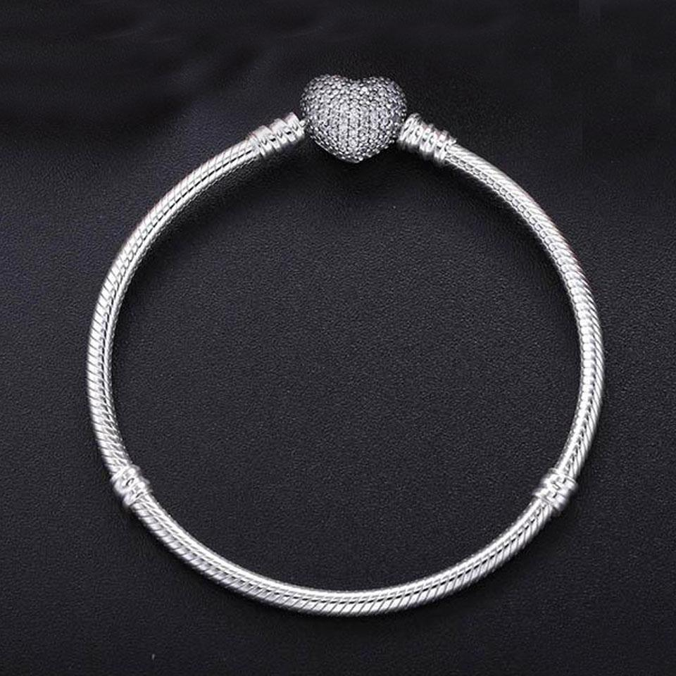 Authentic 925 Silver Heart Charms Bracelet Fit Pandora European Beads Jewelry Bangle Real silver Bracelet for Women