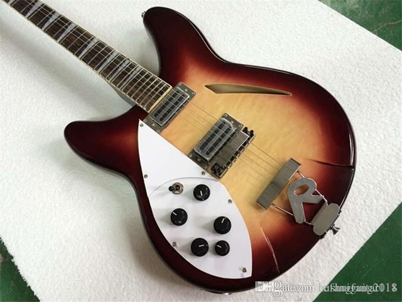 2 개의 더블 코일 픽업과 중공 왼쪽 몸 사용자 정의 전기 기타, 크롬 도금 하드웨어, 사용자 정의