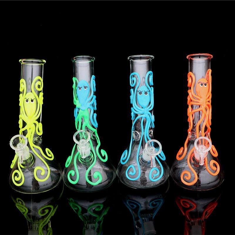 Fluorescenza polpo modello pyrex becher bong erogatore acqua bong olio rig riciclatore bong filtro doppio dab rig