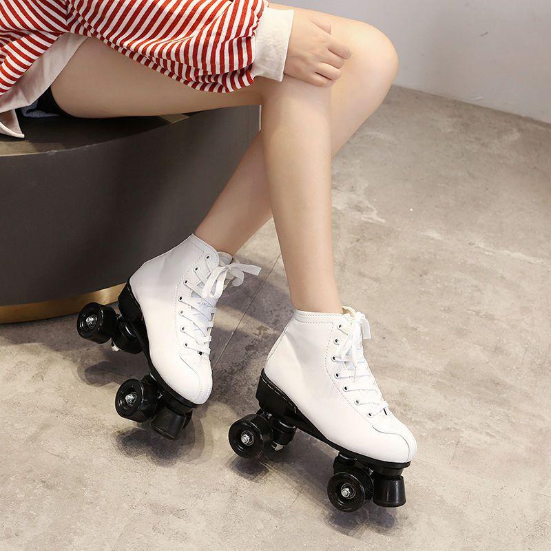 Skate artificielle Chaussures en cuir patin à roulettes Femmes Ptins skatingRollers Patines de 4 ruedas