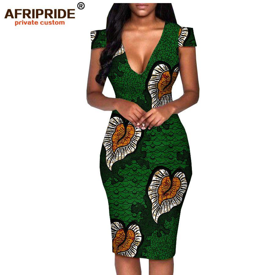 Robe d'été africaine pour femmes afrifride tailleur faite à manches courtes genouilles longueur décontractée robe de crayon 100% coton A1825074