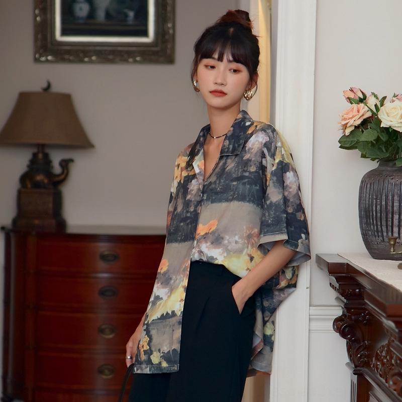 KQLan напечатанных женщин лето 2020 лето модно новый 2020 рубашка Отпечатано рыхлый модная рубашка развесных новых женщин
