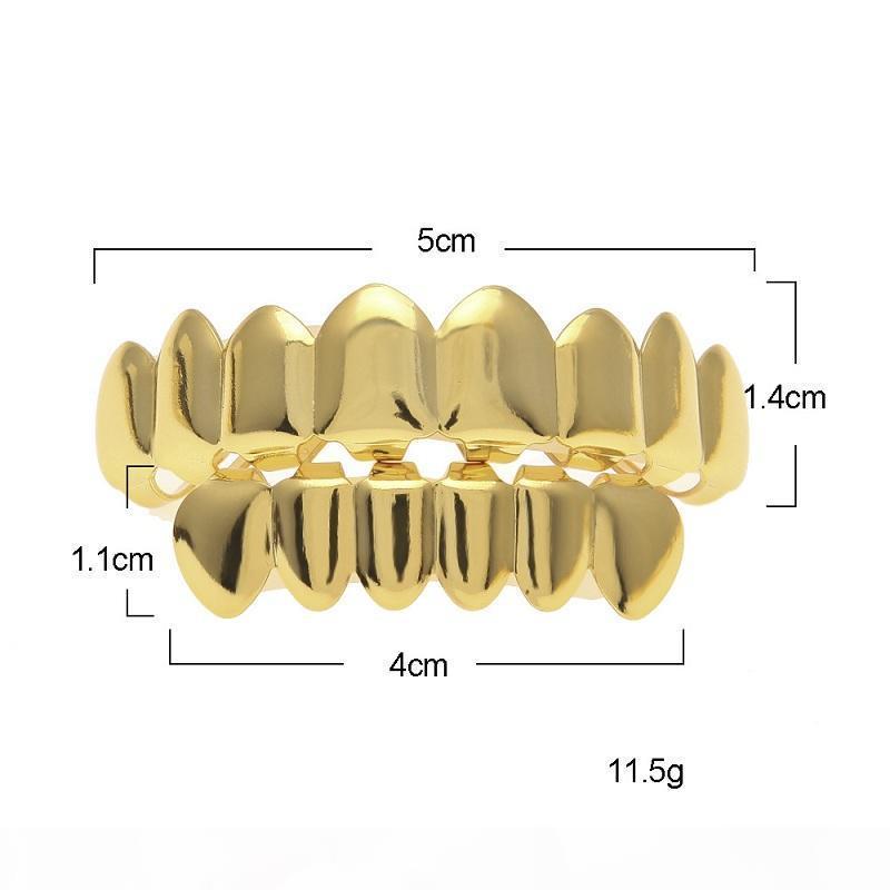 Herren-Gold-Grillz Zähne Grillz Set 2018 neue Art und Weise Hip Hop Schmuck Qualitäts-Eight 8 Top Tooth Six 6 Bottom Teeth Grill