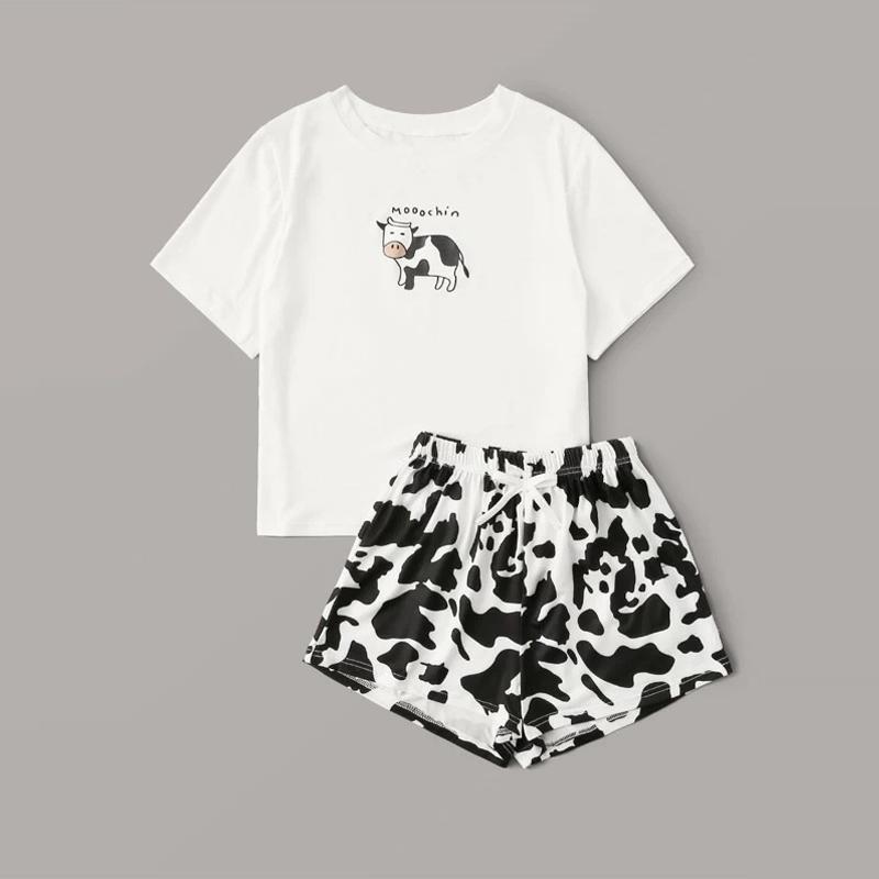 Kadınlar için 2020 İnek Baskılı pijama Pamuk Ev Giyim Pijama Takımı femme pijama Kısa Kollu T-Shirt + Şort Y200708 Nightie