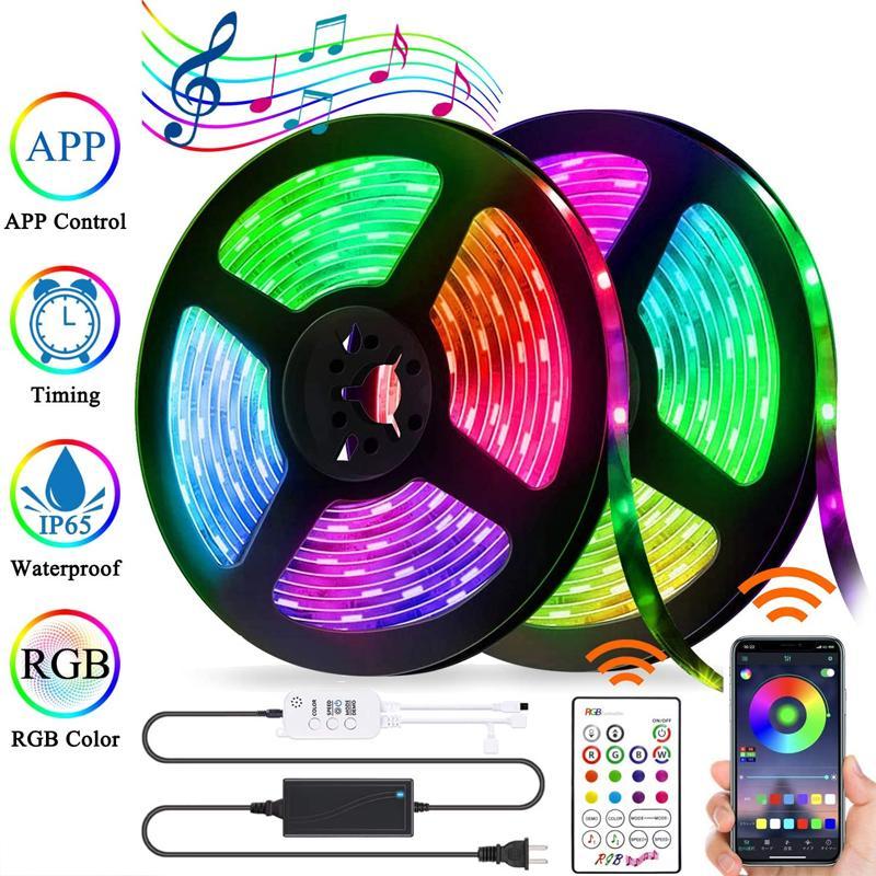 음악 10062와 LED 라이트 벨트 블루투스 APP 제어 방수 5050 RGB LED 라이트 벨트 색상 변경 로프 라이트 벨트 동기화