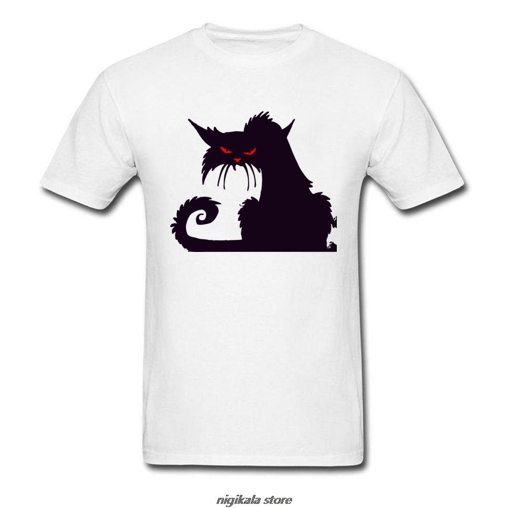 Novidade Design T-shirt para homem irritado impressão dos desenhos animados engraçado o Dia das Bruxas Camiseta de manga curta de pano de algodão preto