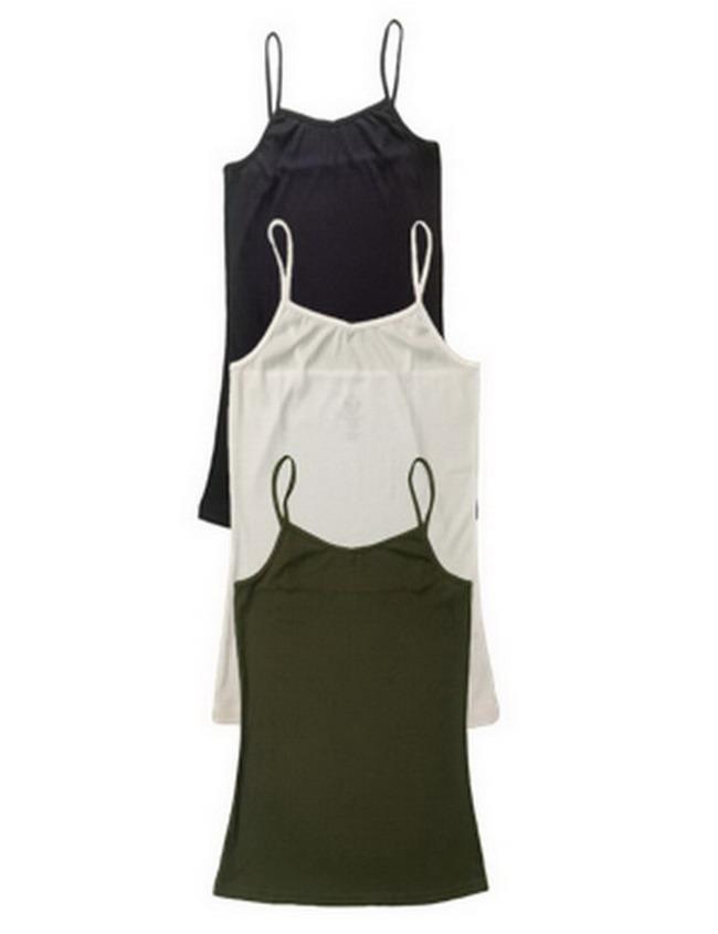 Kadınlar Temel Tankı Sıkı Katı Renk Kaşkorse Slim Fit Yelek Kolsuz tişört 3 ADET Paketi Tops