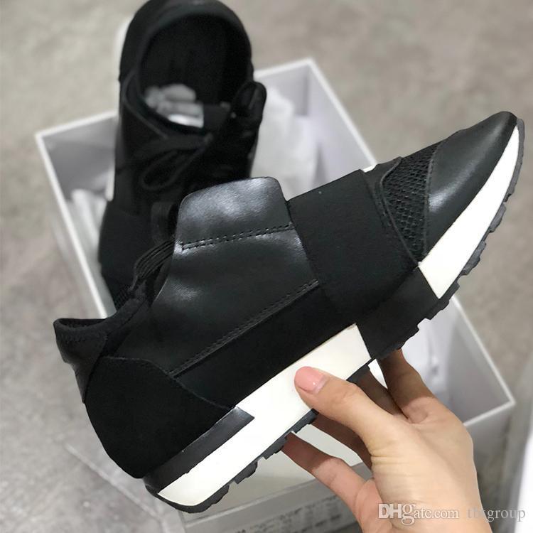 Designer Sneakers Unisex Zapatos Mujer raça Runner Shoes Homem Mulher Casual Sapatos de couro genuíno malha Trainers dedo apontado com caixa US5-12