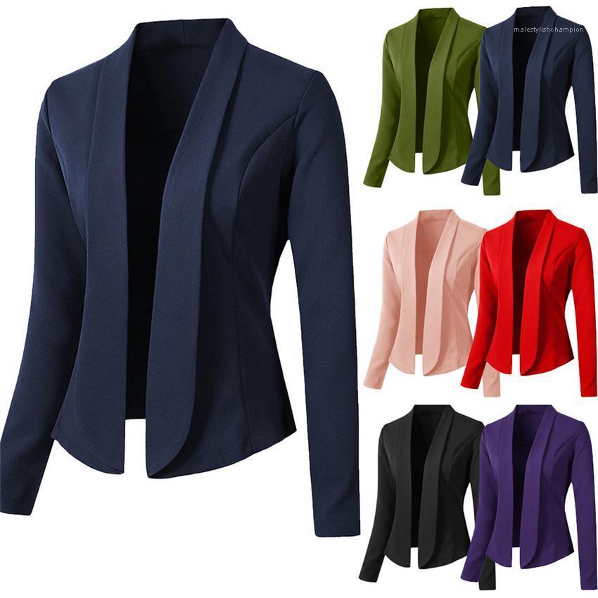 Suits lapela Long Neck Mulher manga Tops Sólidos Casual Cor senhoras Blazers magros Womens Blazers Primavera Outono