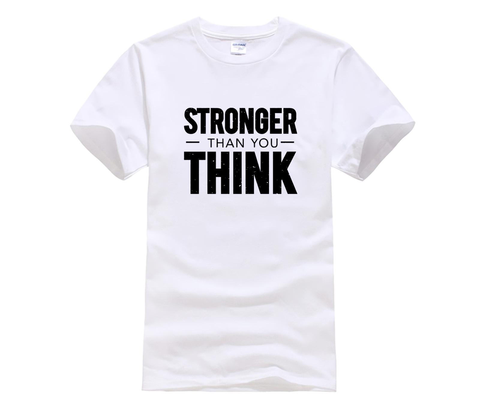 nova tendência da moda mais forte do que você pensa mens Premium Print Men Casual 100% Algodão Camiseta Popular