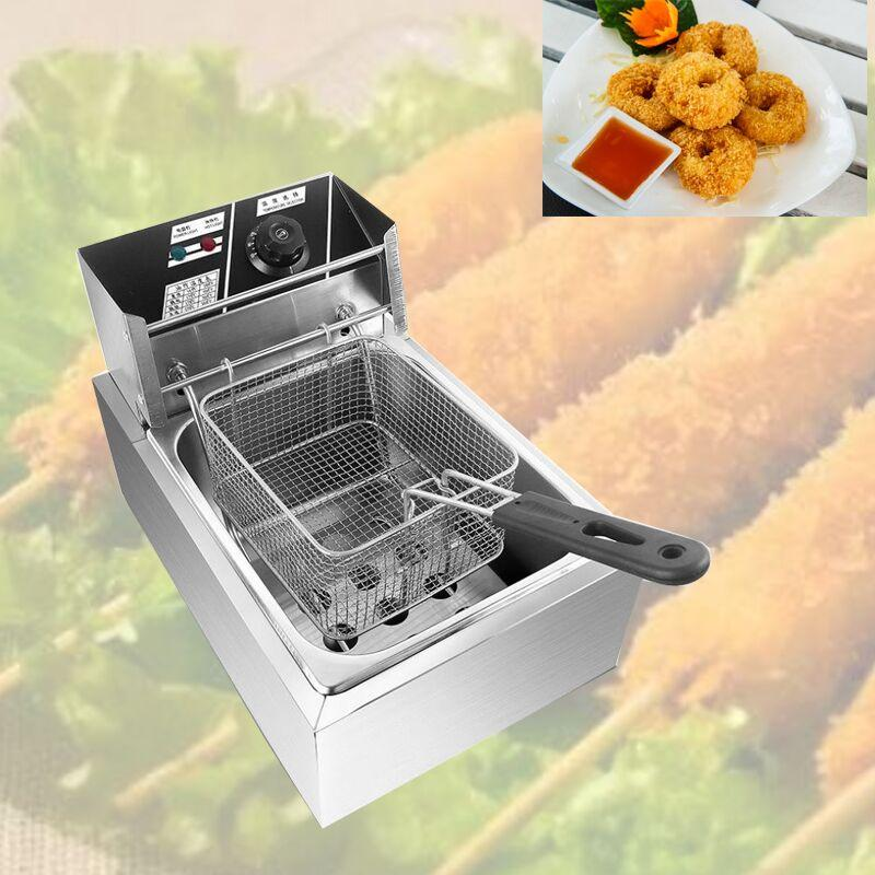 DMWD de acero inoxidable eléctrica comerciales doble cabeza dos cilindros patatas fritas freidora eléctrica del horno pollo frito olla caliente sartén tanque 2 de combustible