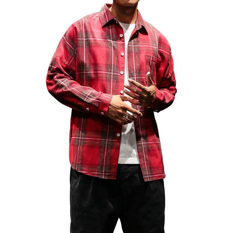 Il nuovo modo Mens plaid Maglie a manica lunga retrò selvaggio camicia casual Camicie Uomo Harajuku a strisce Streetwear Shirts Kpop Abbigliamento