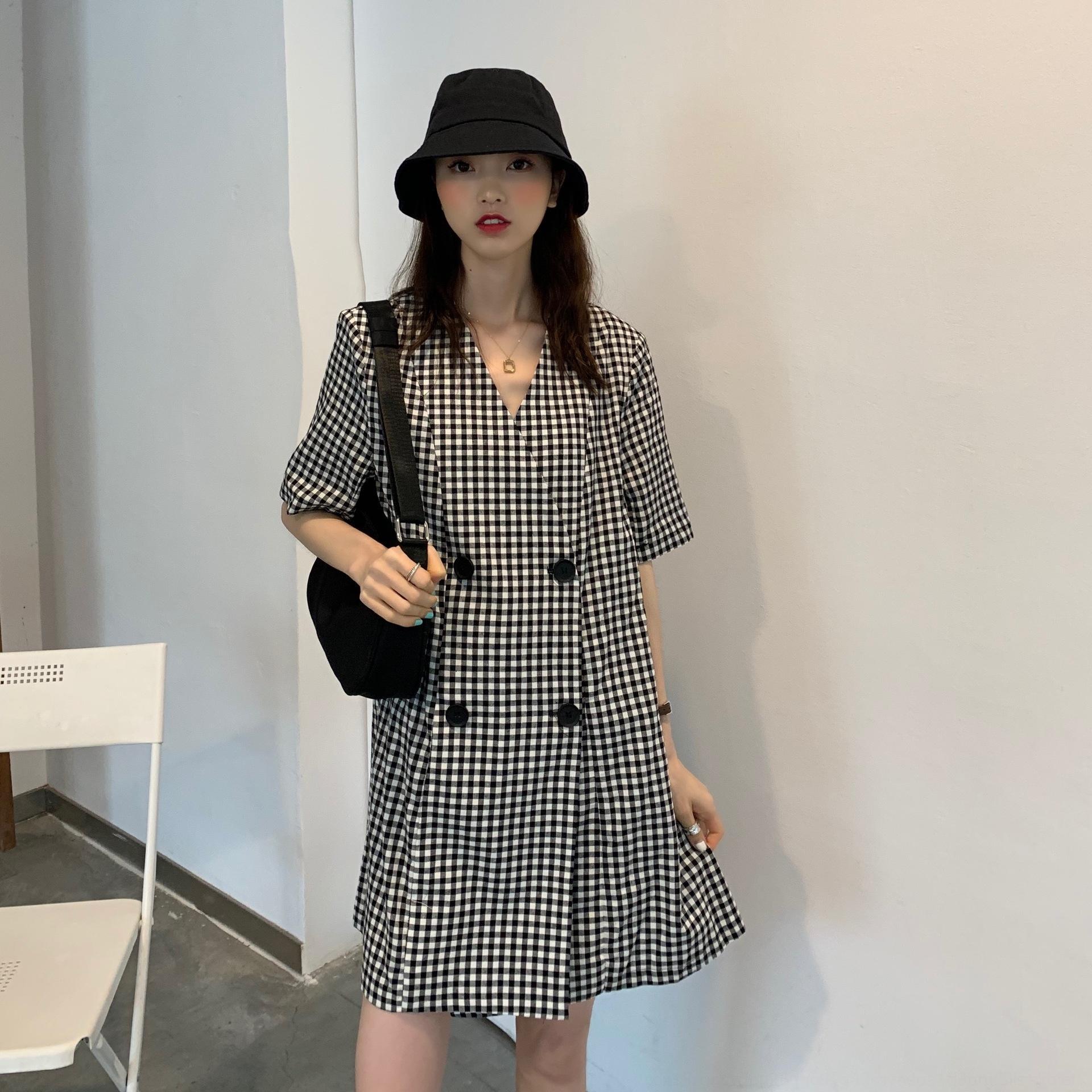 pantalon col monopièce été des femmes jupe chemise 2020 style coréen mode lâche à double boutonnage à manches courtes chemise à carreaux