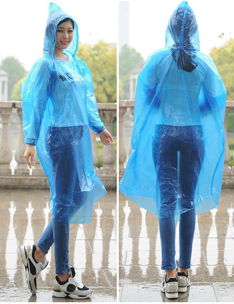 Engrossado capa elástica exterior azul capa de chuva descartável de uma peça poncho impermeável pullover manto pullover moda
