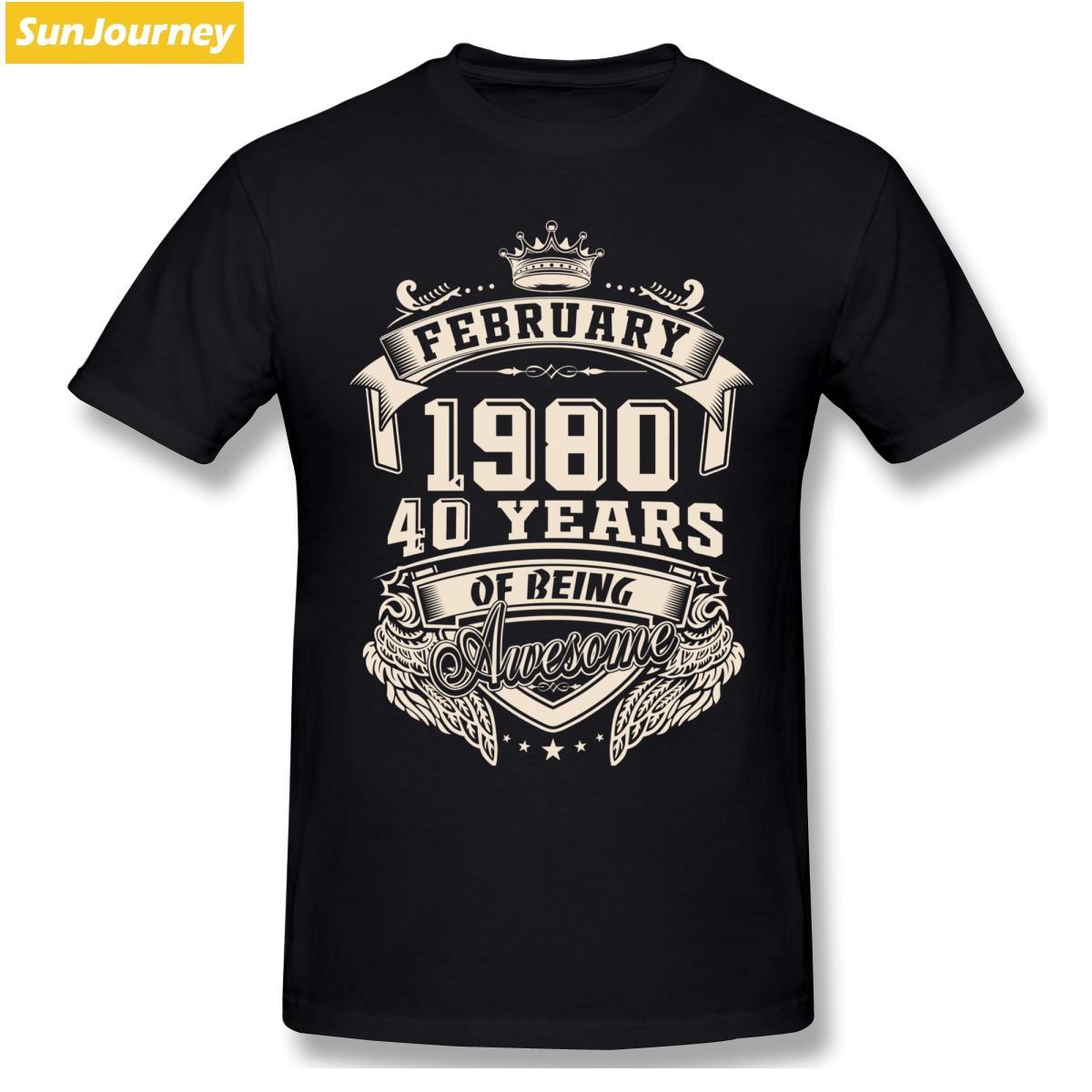 Nato nel febbraio del 1980 a 40 anni di essere uomini della maglietta impressionante Oversize O-collo cotone manica corta t-shirt Uomo