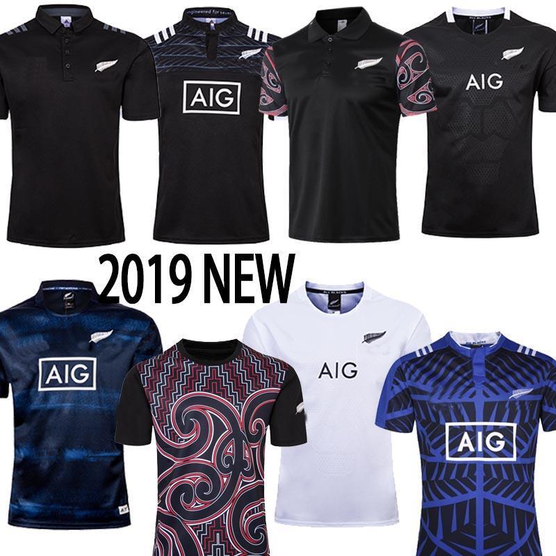 Maori Rugby Jersey 2019 2020 Noruega Dünya Kupası Kiwis 19 20 Dünya Kupası Kısa Kollu Eğitim Suit Rugby Gömlek Boyutu S-5XL Ucuz